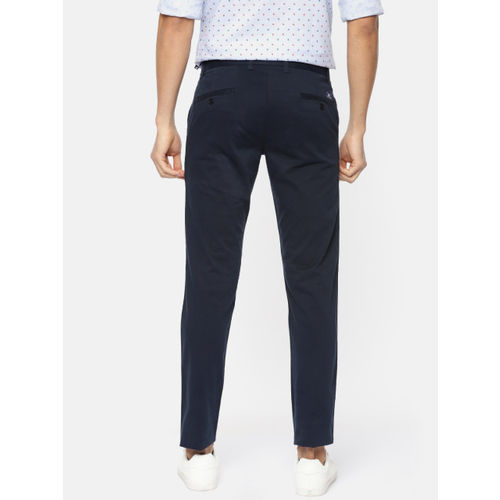 Parx Men Navy Lowell Tapered Fit Solid Chinos