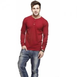 Gritstones Solid Men Henley Maroon T-Shirt