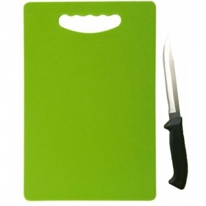 Floraware Green Plastic Chopping Board 1 Knife Free Green and Silver Kitchen Tool Set