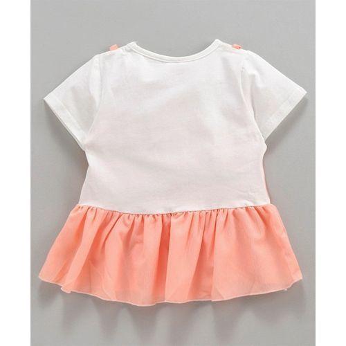Kookie Kids Half Sleeves Frock Style Top With Shorts - Peach