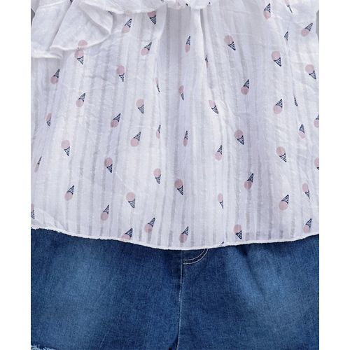 Kookie Kids Half Sleeves Top & Shorts Ice Cream Print - White