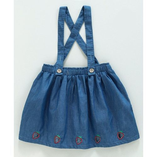 Meng Wa Half Sleeves Top With Skirt & Suspenders Happy Everyday Print - Pink Blue