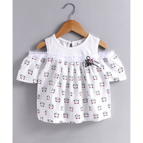Kookie Kids Cold Shoulder Top With Denim Shorts Kitty Print - White Blue