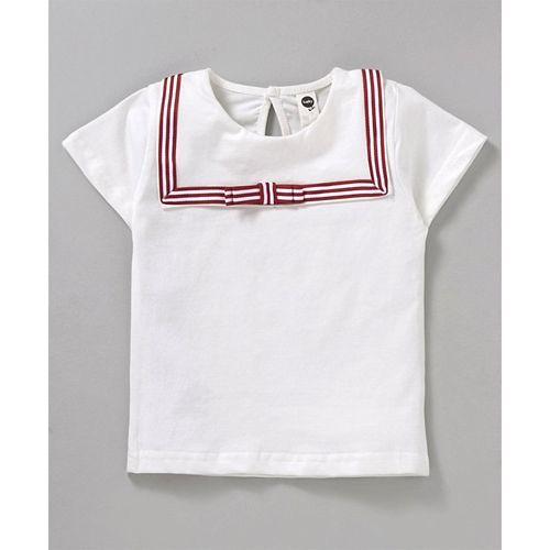 Meng Wa Solid Color Half Sleeves Top With Skirt - Red & White