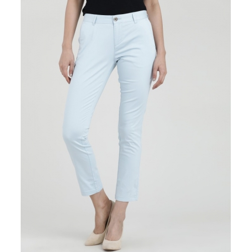 Scullers Slim Fit Light Blue Cotton Trousers