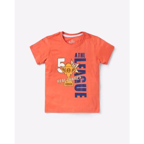 AJIO Graphic Print Round-Neck T-shirt