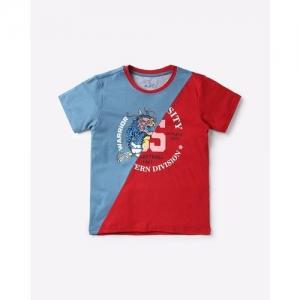 AJIO Colourblock Graphic Print Round-Neck T-shirt