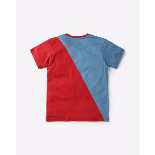 AJIO Colourblock Graphic Print Round-Neck T-shirt