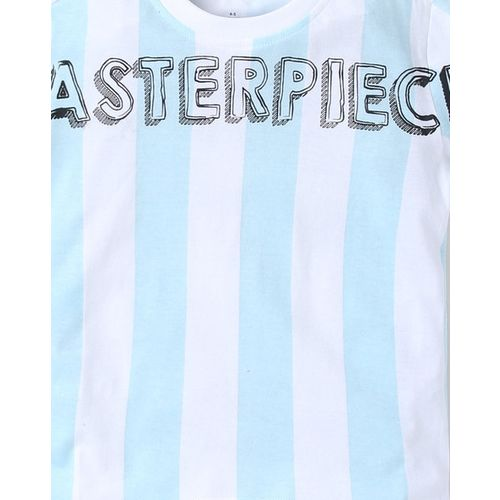 AJIO Striped T-shirt with Typography