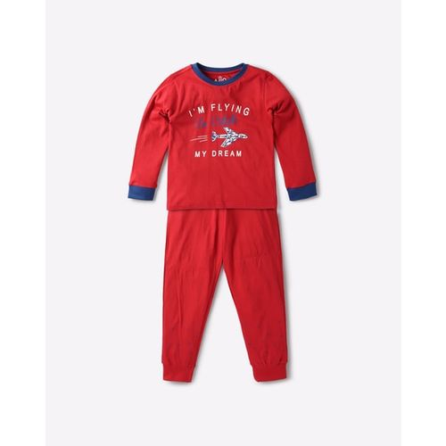 AJIO Typographic Print Nightsuit Set