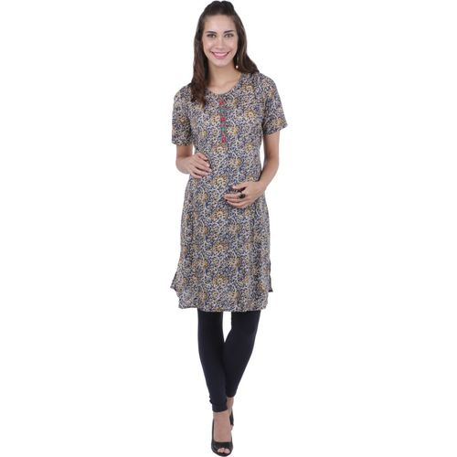 MomToBe Women Floral Print Flared Kurta(Multicolor)