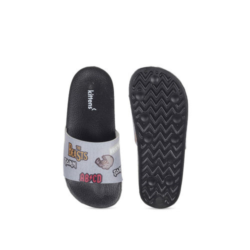 Kittens Boys Grey Printed Sliders