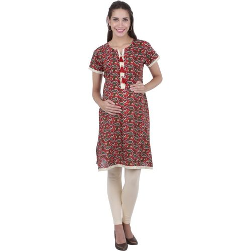 MomToBe Women Paisley Straight Kurta(Red)