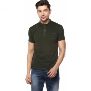 Spykar Solid Men Henley Green T-Shirt