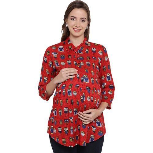 Mine4Nine Casual 3/4 Sleeve Animal Print Women Red Top