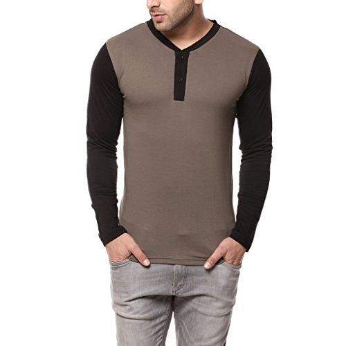 GRITSTONES Steel Grey/Black Full Sleeve Round Neck Henley T Shirt GSHSHNLY1250SGRYBLK