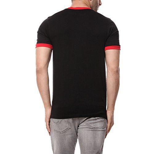 GRITSTONES Black/Red Half Sleeve Round Neck Henley T Shirt GSHSHNLY1277BLKRD