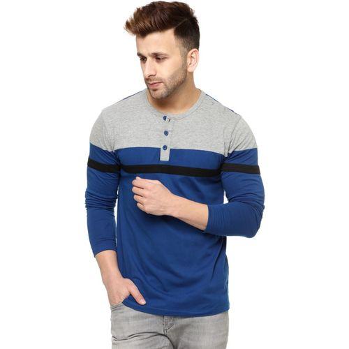 Gritstones Striped Men Henley Grey, Blue T-Shirt