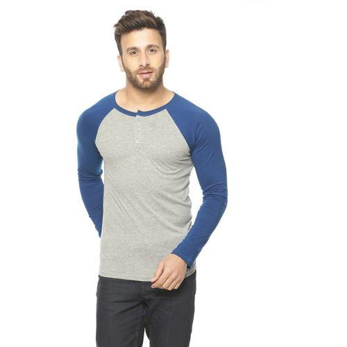 Gritstones Solid Men Round Neck Grey, Blue T-Shirt