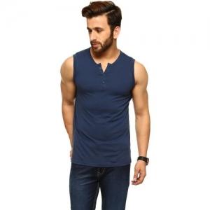 Gritstones Solid Men Round Neck Blue T-Shirt