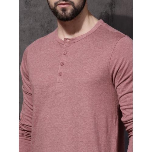 Roadster Men Pink Solid Henley Neck T-shirt