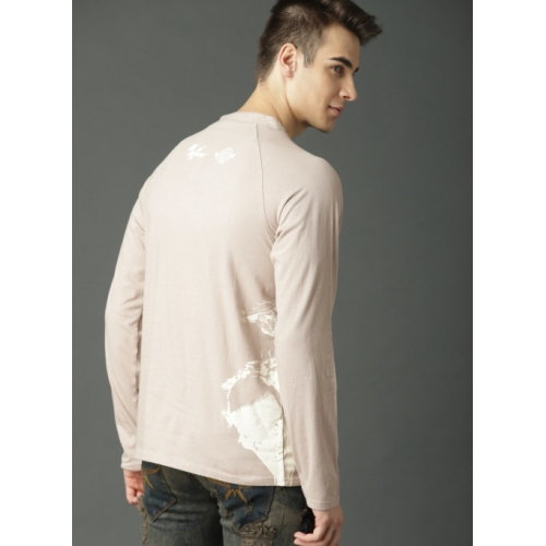Roadster Beige Printed Henley Neck T-Shirt