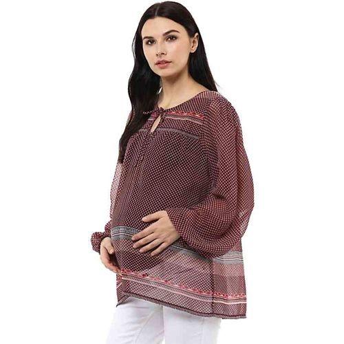Wobbly Walk Maternity Full Sleeves Printed Top - Maroon