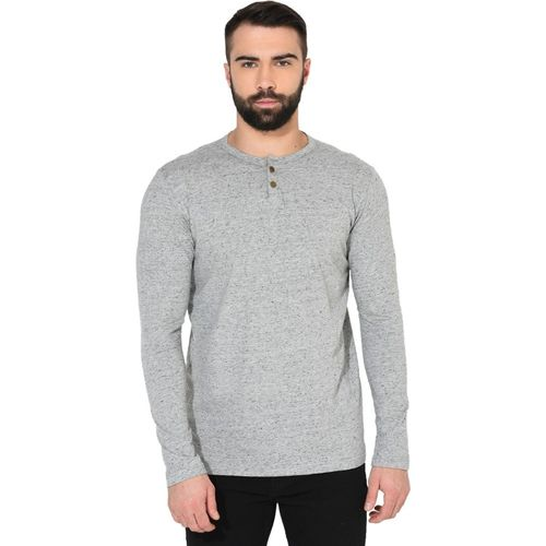 Gritstones Solid Men Round Neck Grey T-Shirt