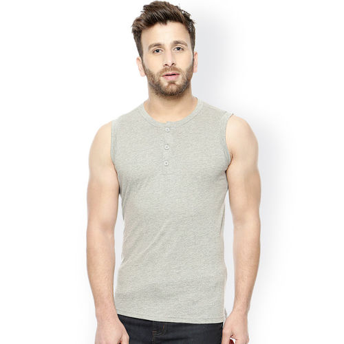 GRITSTONES Grey Melange Henley T-shirt