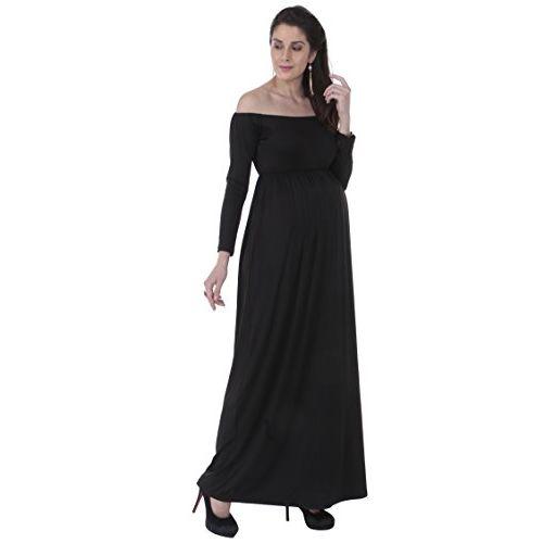 MomToBe Women's Long Off Shoulder Maternity Dress