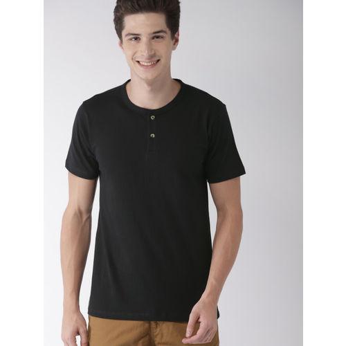 Mast & Harbour Men Black Solid Henley Neck T-shirt