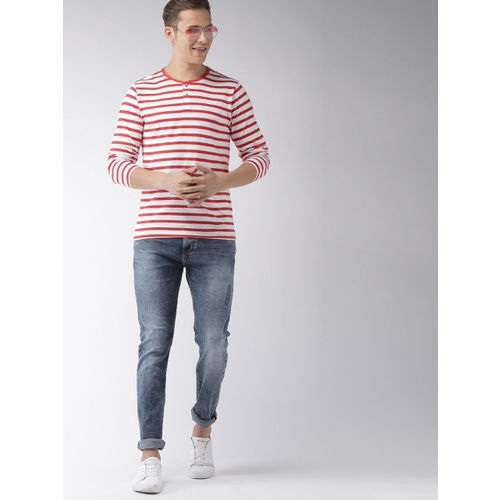 Mast & Harbour Red & White Striped Henley Neck T-shirt