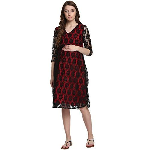 Mine4Nine Women's Red Lace MaternityDress