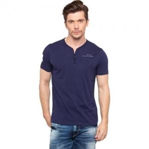 Spykar Solid Men's Henley Blue T-Shirt