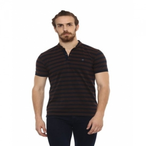 Mufti Brown Striped Slim Fit Cotton Henley T-Shirt