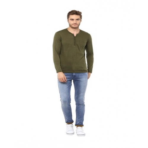 Mufti Olive Slim Fit Henley T-Shirt