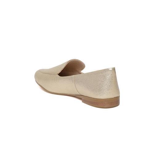 Carlton London Women Gold-Toned Shimmer Flat Shoes