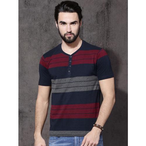 Roadster Men Navy Blue & Maroon Striped Henley Neck T-shirt
