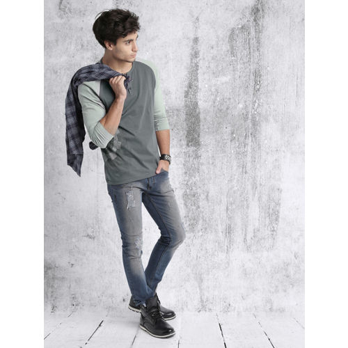 Roadster Men Grey Printed Henley T-shirt