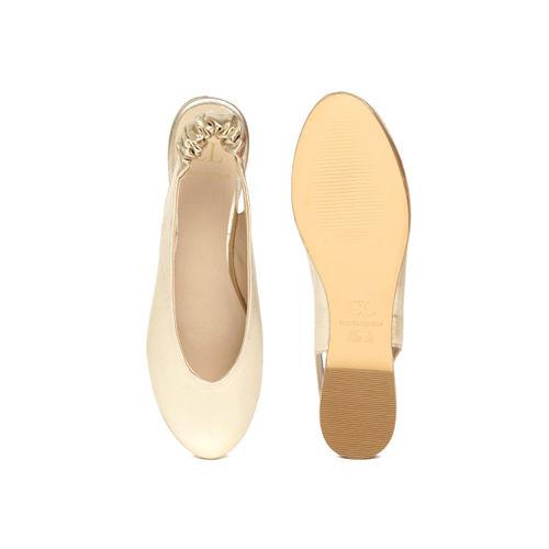 Carlton London Women Gold-Toned Solid Synthetic Ballerinas
