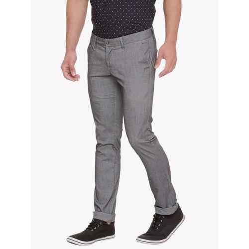 Basics Men Grey Skinny Fit Solid Chinos