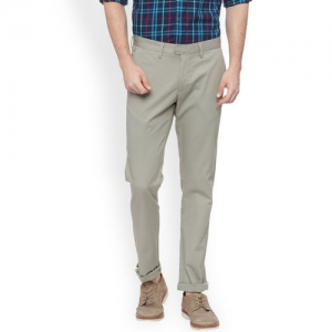 Basics Men Green Tapered Fit Solid Stretchable Chinos
