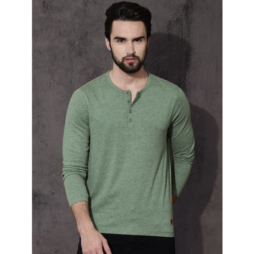 Roadster Men Green Solid Henley Neck T-shirt