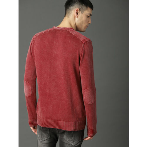 Roadster Men Red Solid Pullover Sweater