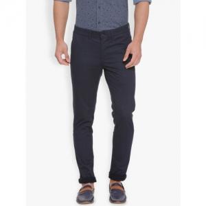 Basics Men Navy Blue Tapered Fit Printed Chinos