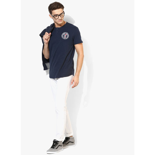 Tommy Hilfiger Navy Blue Solid Regular Fit Henley T-Shirt