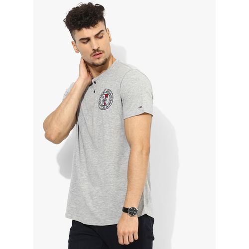 Tommy Hilfiger Grey Self Design Regular Fit Henley T-Shirt