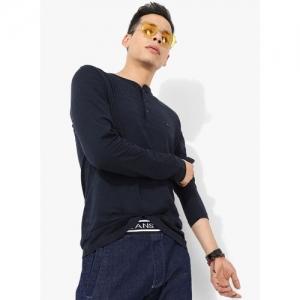 Tommy Hilfiger Navy Blue Self Design Slim Fit Henley T-Shirt