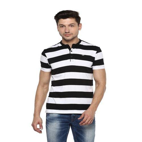 Spykar Black & White Striped Slim Fit Henley T-Shirt