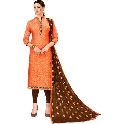 Manvaa Poly Silk Self Design, Embroidered, Solid Salwar Suit Material(Semi Stitched)